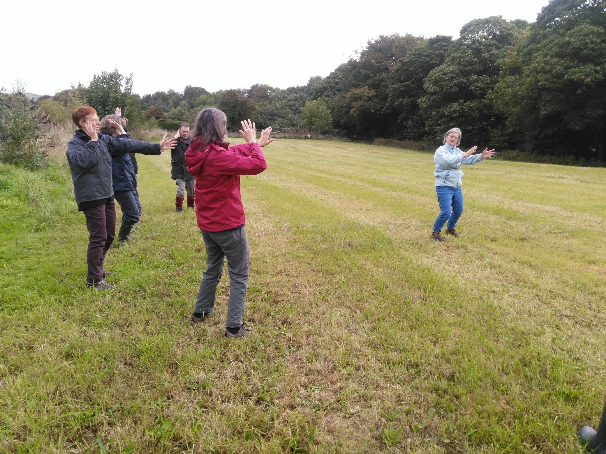 Five people stand in a field with their hands outstretched